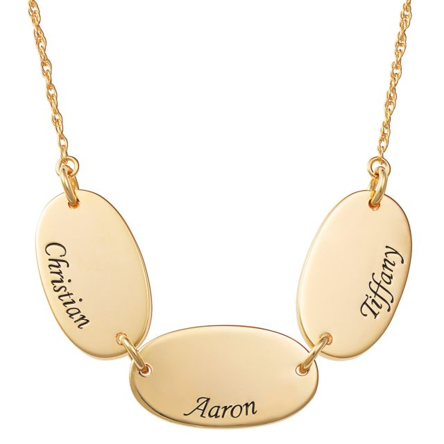 Gold Over Sterling Engraved Name Oval Station Necklace - 3 Names
