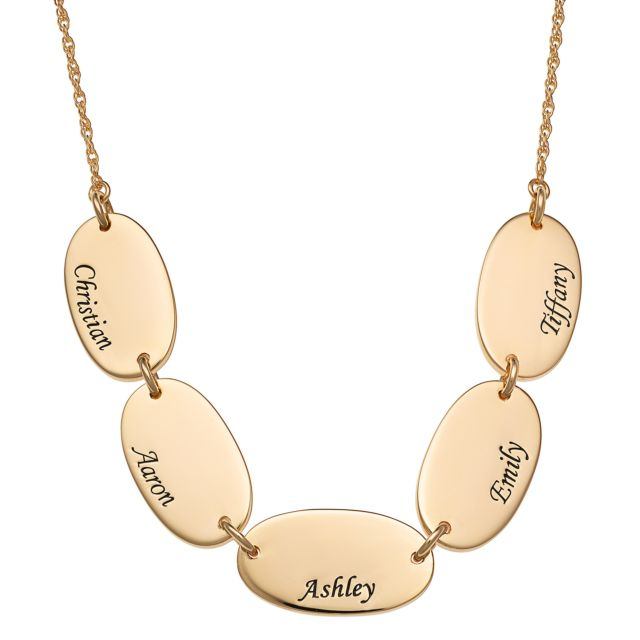 Gold Over Sterling Engraved Name Oval Station Necklace - 5 Names