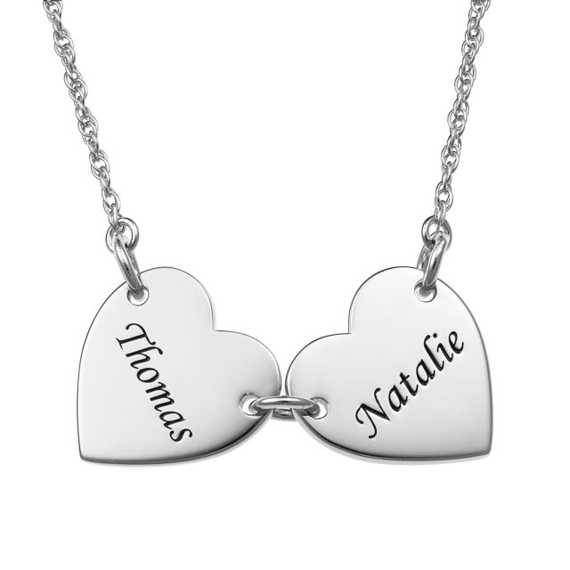 Sterling Silver Engraved Name Heart Station Necklace - 2 Names