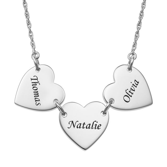 Sterling Silver Engraved Name Heart Station Necklace - 3 Names