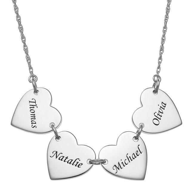 Sterling Silver Engraved Name Heart Station Necklace - 4 Names