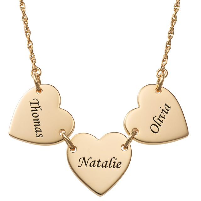 Gold Over Sterling Engraved Name Heart Station Necklace - 3 Names