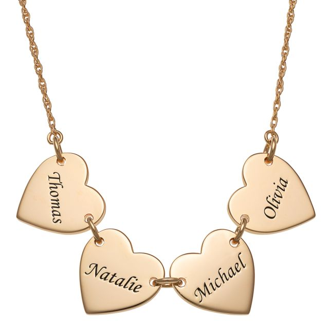 Gold Over Sterling Engraved Name Heart Station Necklace - 4 Names