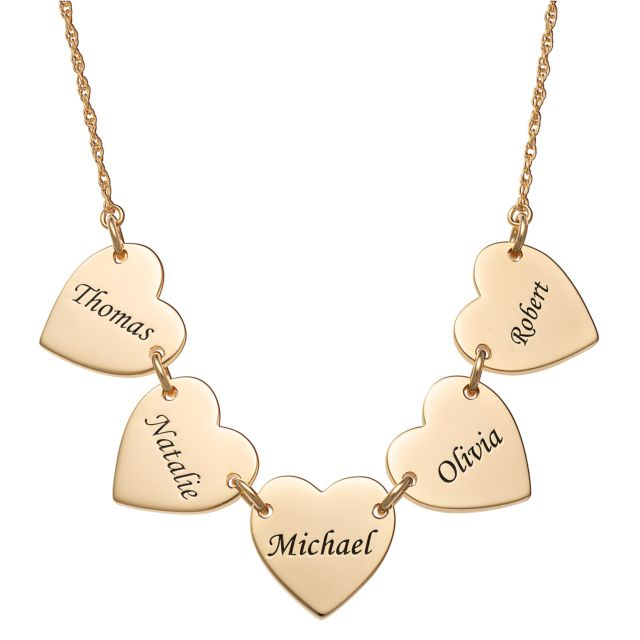Gold Over Sterling Engraved Name Heart Station Necklace - 5 Names