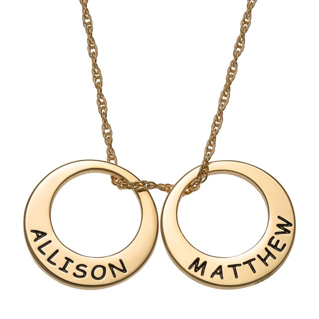 Gold Over Sterling Engraved Name Open Disc Necklace - 2 Discs