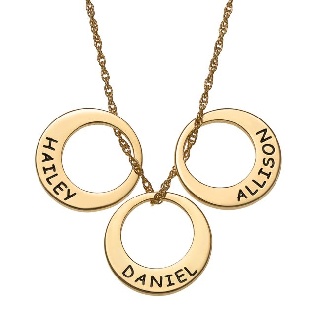 Gold Over Sterling Engraved Name Open Disc Necklace - 3 Discs