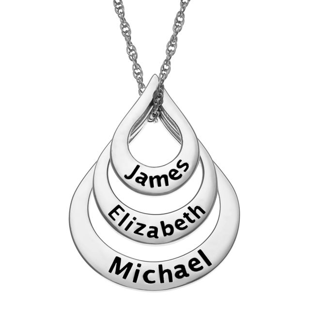 Sterling Silver Nesting Teardrop with Names Necklace - 3 Names