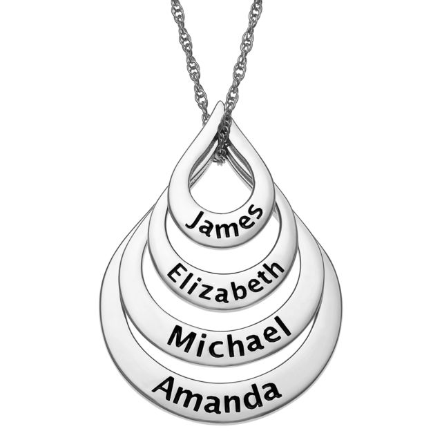 Sterling Silver Nesting Teardrop with Names Necklace - 4 Names
