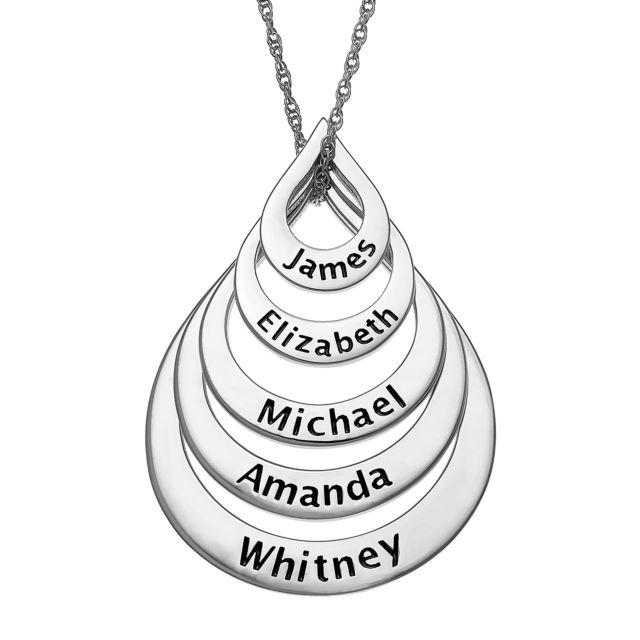 Sterling Silver Nesting Teardrop with Names Necklace - 5 Names