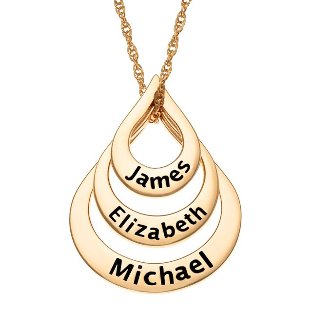 Gold Over Sterling Nesting Teardrop with Names Necklace - 3 Names