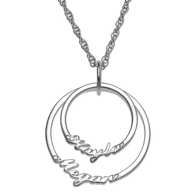 Script Name with Circle Necklace - 2 Names