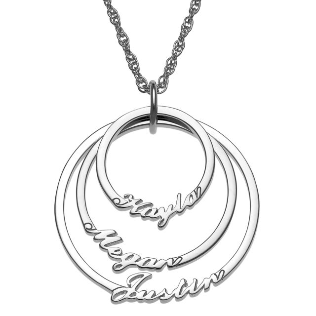 Script Name with Circle Necklace - 3 Names