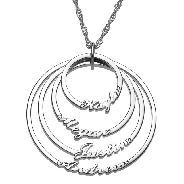 Script Name with Circle Necklace - 4 Names
