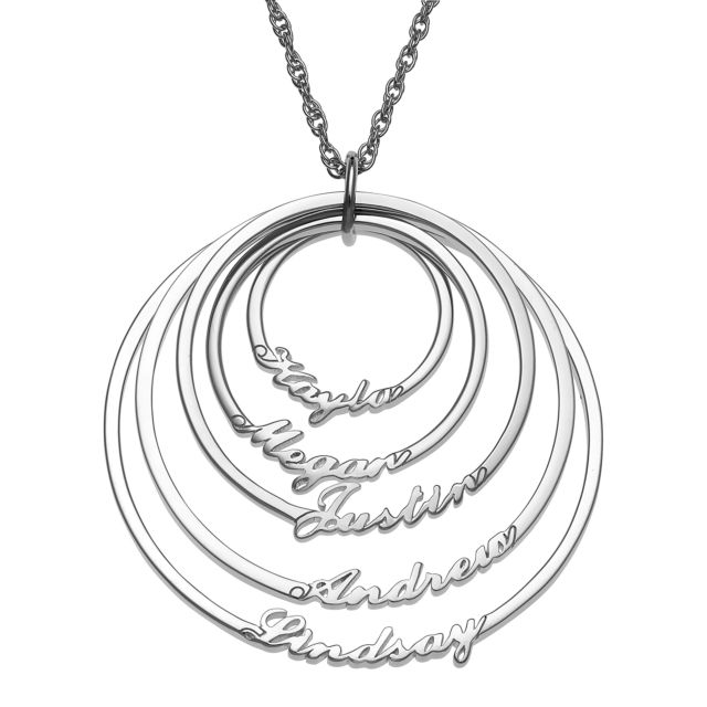 Script Name with Circle Necklace - 5 Names