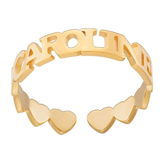 14K Gold over Sterling Name with Heart Band Ring