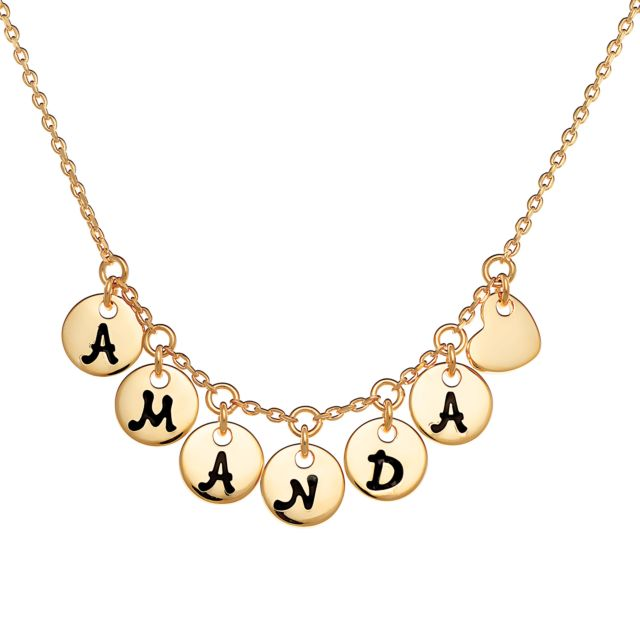 Gold over Sterling Disc Name with Heart Charm Necklace