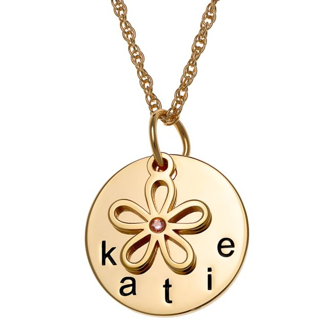 Gold over Sterling Name Disc with Birthstone Flower Charm Necklace