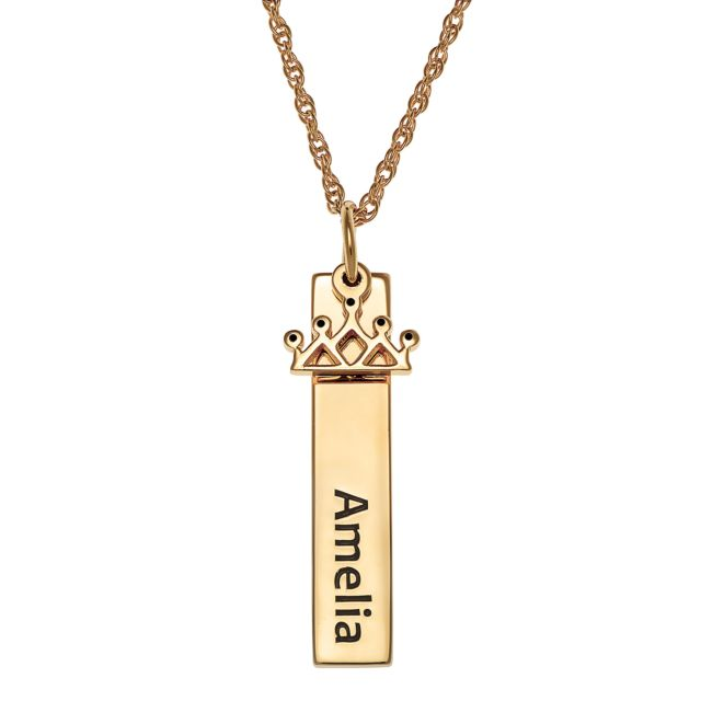 Gold over Sterling Name Tag with Crown Charm Necklace