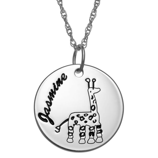 Sterling Silver Personlized Name Disc with Girafee Necklace