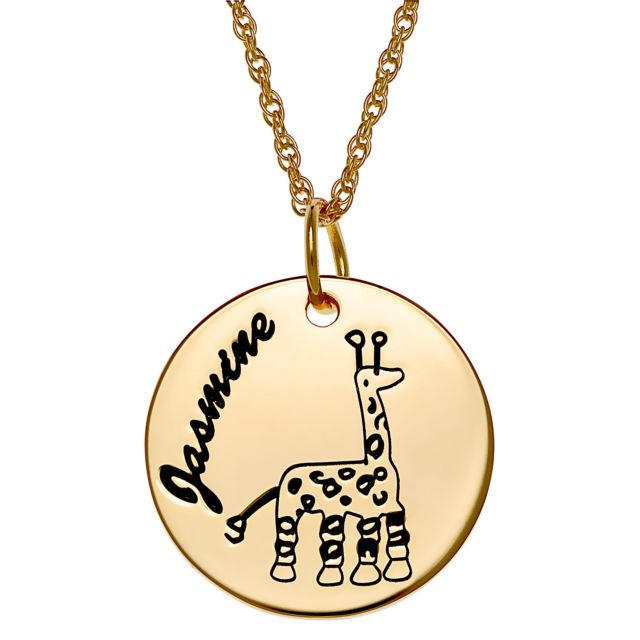 Gold over Sterling Personlized Name Disc with Girafee Necklace