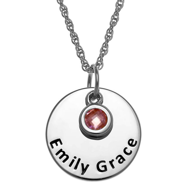 Sterling Silver Engraved Name Disc with Birthstone Charm Necklace