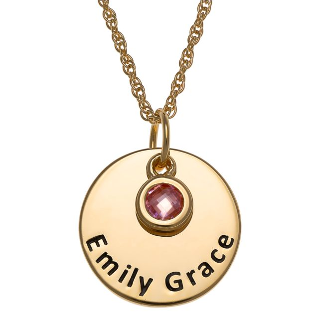 Gold over Sterling Engraved Name Disc with Birthstone Charm Necklace