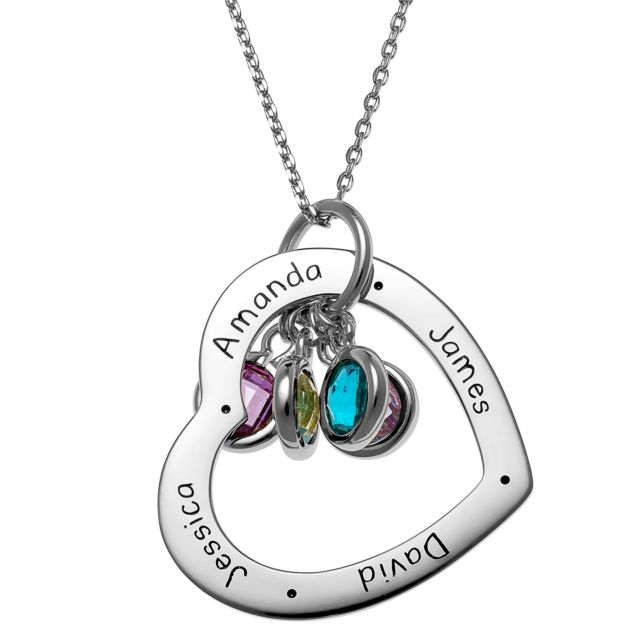 Sterling Silver Engraved Family Names Heart with Birthstones Necklace