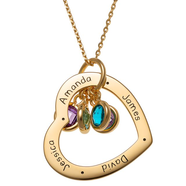 Gold over Sterling Engraved Family Names Heart with Birthstones Necklace