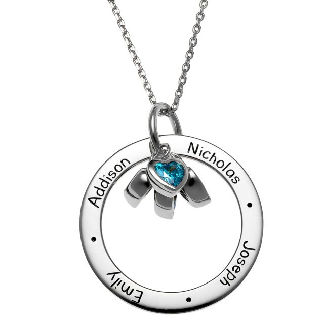 Sterling Silver Engraved Family Names Circle with Heart Birthstones Necklace