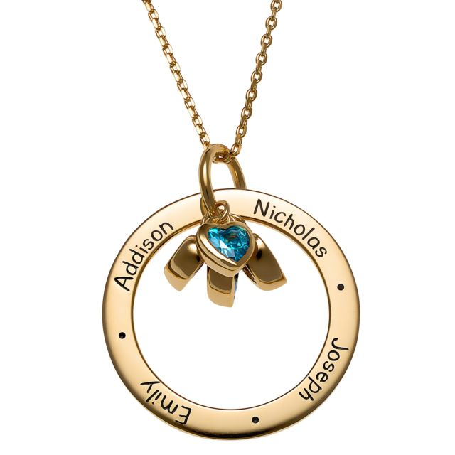 Gold over Sterling Engraved Family Names Circle with Heart Birthstones Necklace