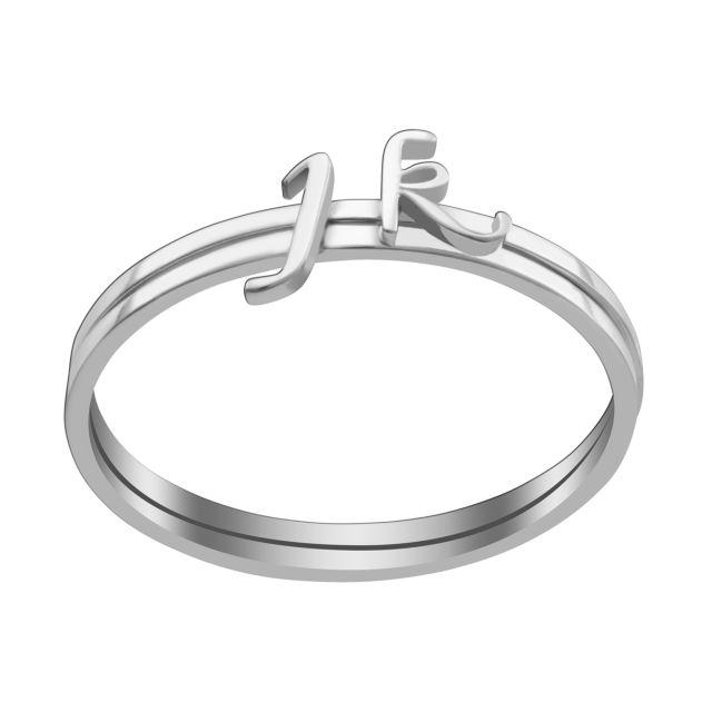 Sterling Silver Petite Lowercase Script Initials Ring - Set of 2