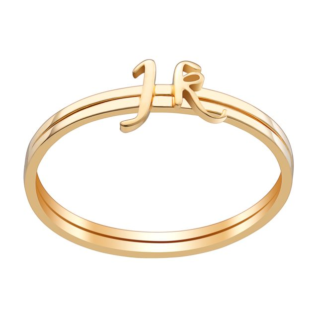 Gold over Sterling Petite Lowercase Script Initials Ring - Set of 2