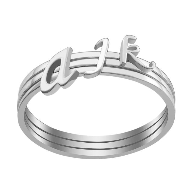 Sterling Silver Petite Lowercase Script Initials Ring - Set of 3