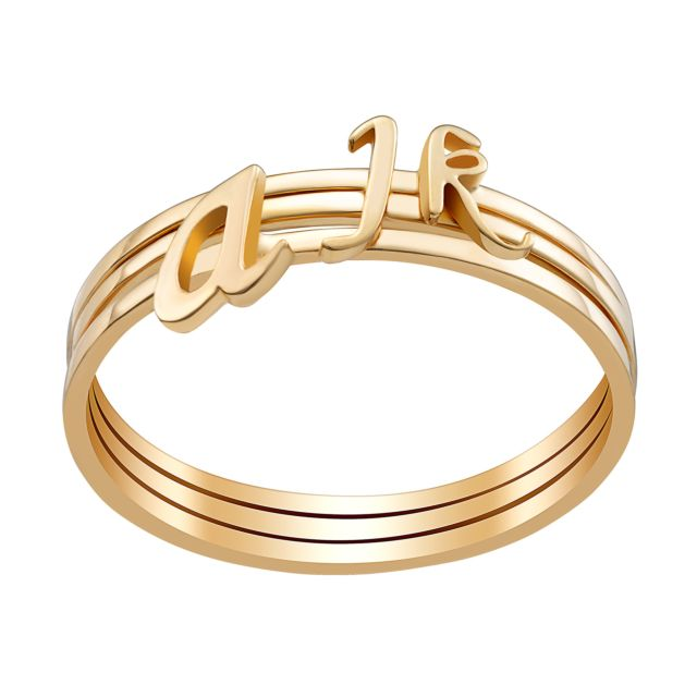 Gold over Sterling Petite Lowercase Script Initials Ring - Set of 3