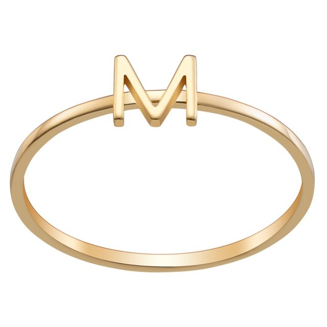 14K Gold over Sterling Petite Uppercase Initial Ring