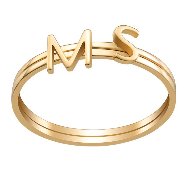 14K Gold over Sterling Petite Uppercase Initials Ring - Set of 2
