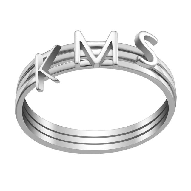 Sterling Silver Petite Uppercase Initials Ring - Set of 3