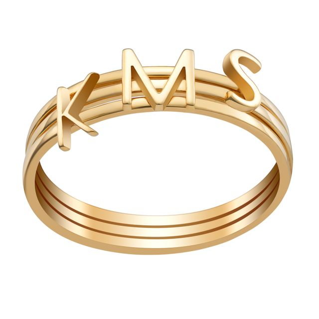 14K Gold over Sterling Petite Uppercase Initials Ring - Set of 3