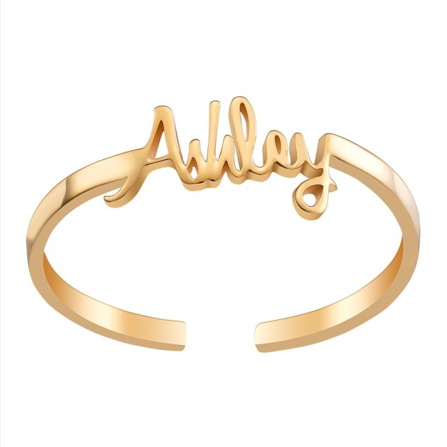 Gold over Sterling Petite Script Name Ring