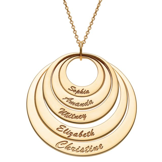 Gold Over Sterling Nesting Circles with Names Necklace - 5 Discs