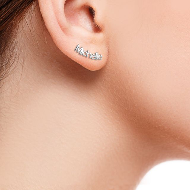 Sterling Silver Personalized Name Crawler Button Earring