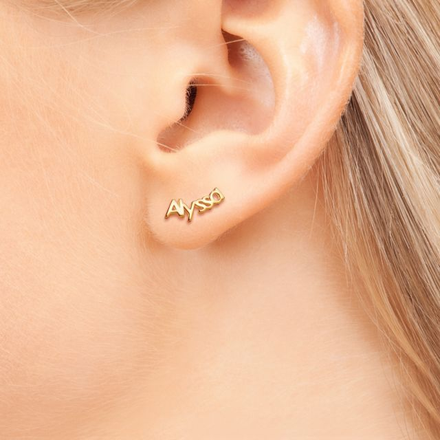 Gold Over Sterling Personalized Name Crawler Button Earring