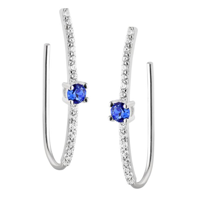 Sterling Silver Birthstone and White Topaz Crawler Earring