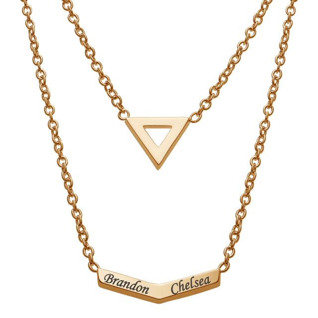 Engraved Names Layered Necklace