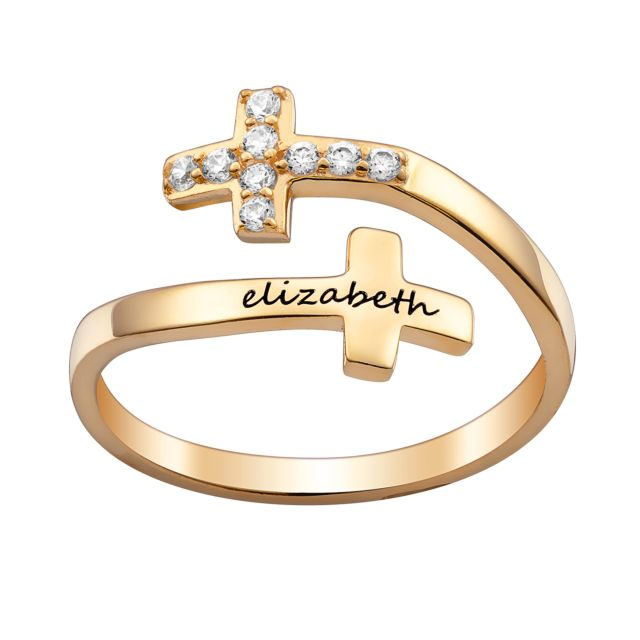 Gold over Sterling Engraved Name Double Cross Ring with Crystals