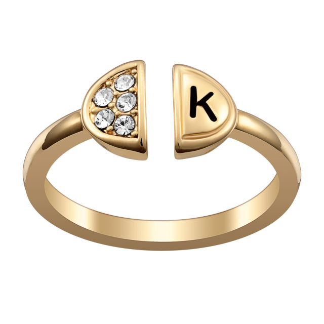 Engraved Initial Ring with Crystals