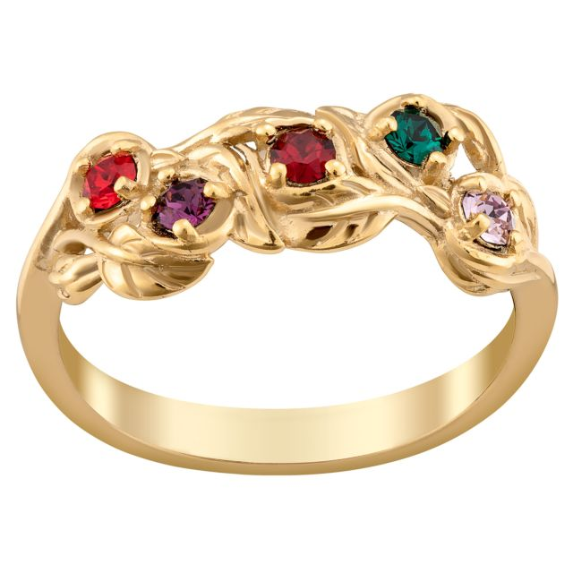 Gold over Sterling Family Birthstone Leaf Ring