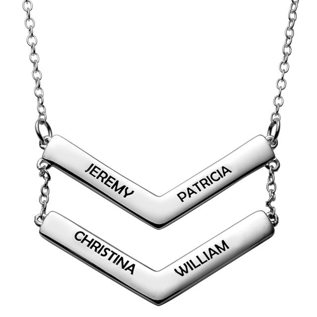 Sterling Silver Double Layered Engraved Names Chevron Necklace