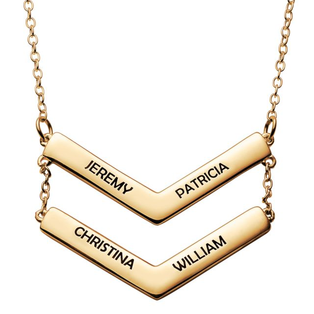 Gold over Sterling Double Layered Engraved Names Chevron Necklace