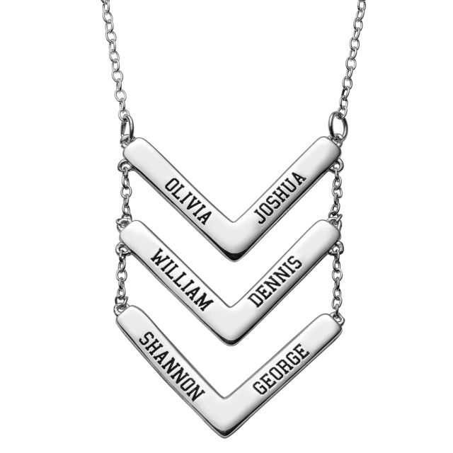 Sterling Silver Triple Layered Engraved Names Chevron Necklace